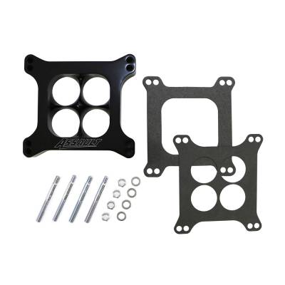 """Carburetor Spacers, Studs & Gaskets - Carb Adapters & Spacers - Assault Racing Products - 1"""" 4 Hole Billet Aluminum 4150 Holley Black CNC Machined Carb Spacer Carburator"""