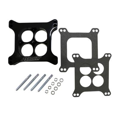 """Carburetor Spacers, Studs & Gaskets - Carb Adapters & Spacers - Assault Racing Products - 1.5"""" 4 Hole Billet Aluminum 4150 Holley Black CNC Machined Spacer Carburator"""