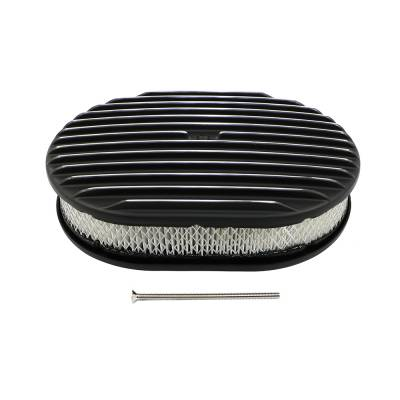 """Assault Racing Products - 12"""" x 2"""" Oval Finned Polished Aluminum Air Cleaner Assembly Black Powder Coated"""