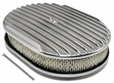 "Air Filters & Cold Air Intakes - Air Cleaner Assemblies & Accessories - Assault Racing Products - 12"" x 2"" Oval Full Finned Polished Aluminum Air Cleaner Assembly 12x2 Retro"