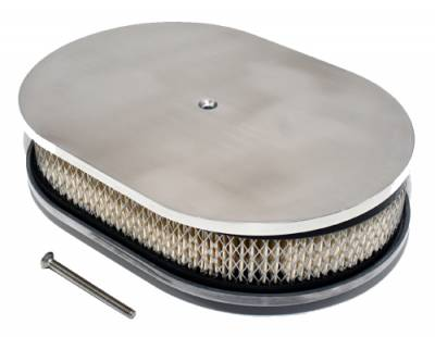 """Air Filters & Cold Air Intakes - Air Cleaner Assemblies & Accessories - Assault Racing Products - 12"""" x 2"""" Oval Full Smooth Top Polished Aluminum Air Cleaner Assembly Low Profile"""