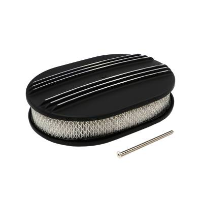 "Air Filters & Cold Air Intakes - Air Cleaner Assemblies & Accessories - Assault Racing Products - 12"" x 2"" Oval Partial Retro Finned Black Powder Coated Aluminum Air Cleaner"
