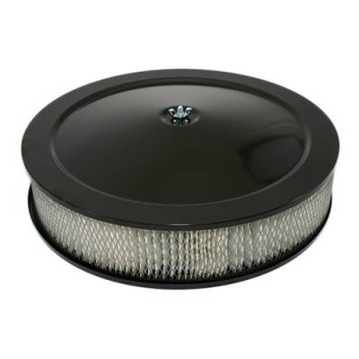 """Assault Racing Products - 14"""" Round Black Air Cleaner Assembly - Recessed Dropped Base w/ 3"""" Paper Filter"""