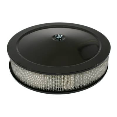 "Air Filters & Cold Air Intakes - Air Cleaner Assemblies & Accessories - Assault Racing Products - 14"" Round Black Air Cleaner Assembly - Recessed Dropped Base w/ 3"" Paper Filter"