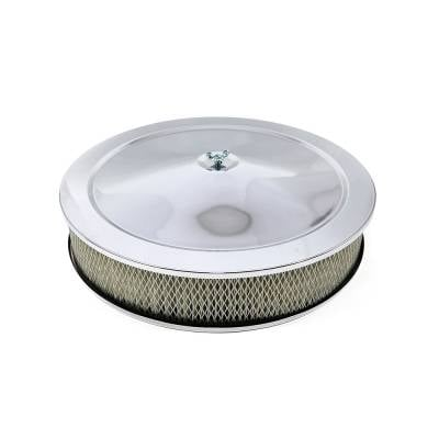 """Assault Racing Products - 14"""" Round Chrome Air Cleaner Assembly - Recessed Dropped Base w/ 3"""" Paper Filter"""