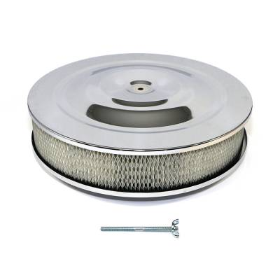 """Assault Racing Products - 14"""" Round Chrome Air Cleaner Assembly 5-1/8"""" Neck- Flat Base w/ 3"""" Paper Filter"""