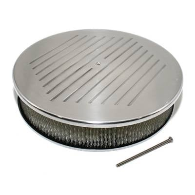 "Air Filters & Cold Air Intakes - Air Cleaner Assemblies & Accessories - Assault Racing Products - 14"" x 3"" Ball Milled Polished Aluminum Top Round Air Cleaner Assembly w/ Element"