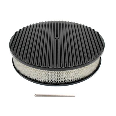 """Assault Racing Products - 14"""" x 3"""" Full Retro Black Finned Round Aluminum Air Cleaner Kit w/ Element"""