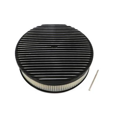 "Air Filters & Cold Air Intakes - Air Cleaner Assemblies & Accessories - Assault Racing Products - 14"" x 3"" Full Retro Black Polished Fins Round Aluminum Air Cleaner Kit / Element"