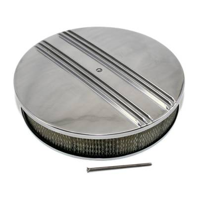 "Air Filters & Cold Air Intakes - Air Cleaner Assemblies & Accessories - Assault Racing Products - 14"" x 3"" Half Retro Finned Round Aluminum Air Cleaner Assembly Kit w/ Filter"