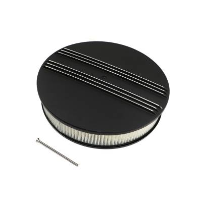 """Assault Racing Products - 14"""" x 3"""" Half Retro Finned Round Black Aluminum Air Cleaner Kit & Filter Element"""