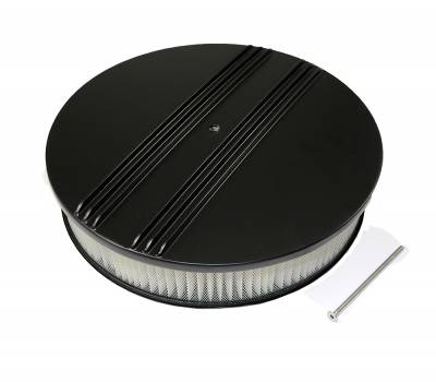 """Assault Racing Products - 14"""" x 3"""" Half Retro Finned Round Black Aluminum Air Cleaner Kit / Filter Element"""