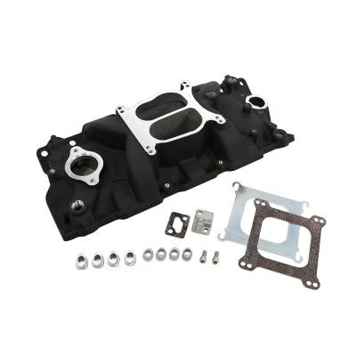 Intake Manifolds - Carbureted Intake Manifolds - Assault Racing Products - 1955-1995 SBC Chevy Dual Plane Black Aluminum Intake Manifold 327 305 327 350