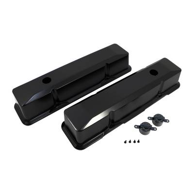 Valve Covers & Accessories - Street Valve Covers  - Assault Racing Products - 1958-86 SBC Chevy Black Tall Aluminum Valve Covers Recessed Style - 350 383 400