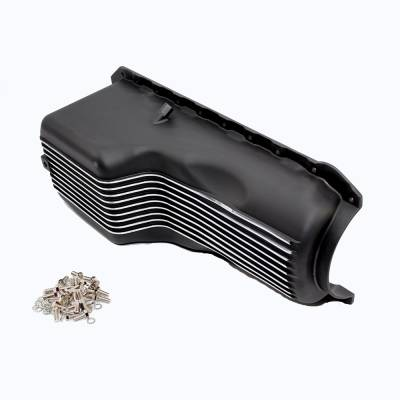 Oil Pans - Street Oil Pans - Assault Racing Products - 1965-1990 BBC Finned Black Coated Aluminum Oil Pan Big Block Chevy 396 427 454