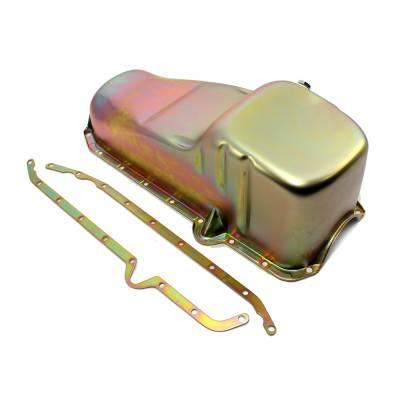 Oil Pans - Circle Track Oil Pans - Assault Racing Products - 1980-85 SBC Chevy 283-305-327-350 Cheater Racing Zinc Oil Pan - IMCA Claimer Pan
