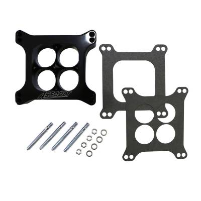 """Carburetor Spacers, Studs & Gaskets - Carb Adapters & Spacers - Assault Racing Products - 2"""" 4 Hole Billet Aluminum 4150 Holley Black CNC Machined Carb Spacer Carburator"""