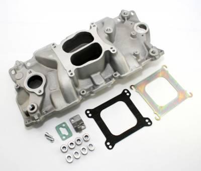 Intake Manifolds - Carbureted Intake Manifolds - Assault Racing Products - 55-95 SBC Chevy Dual Plane Aluminum Intake Manifold 283 305 327 350 Small Block