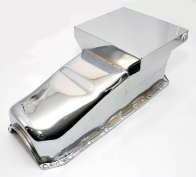 58-79 SBC Chevy Chrome Drag Race Style Oil Pan 7qt - 283 327 350 400 Small Block