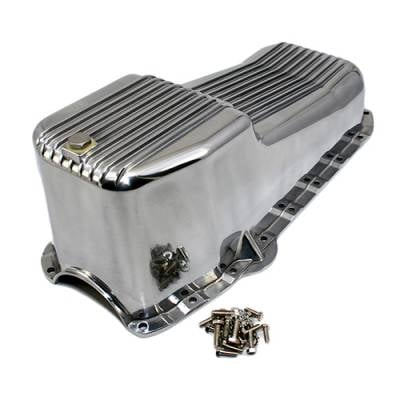 Oil Pans - Street Oil Pans - Assault Racing Products - 58-79 SBC Chevy Finned Polished Aluminum Oil Pan - Small Block 283 305 327 350