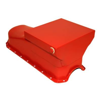 58-79 SBC Chevy Orange Drag Race Style Oil Pan 7qt - 283 327 350 400 Small Block