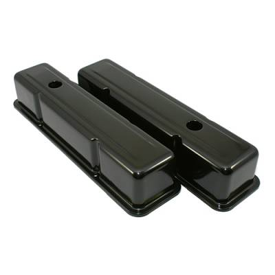 Valve Covers & Accessories - Street Valve Covers  - Assault Racing Products - 58-86 SBC Chevy 350 Black Tall Steel Valve Covers - Small Block 283 305 327 400