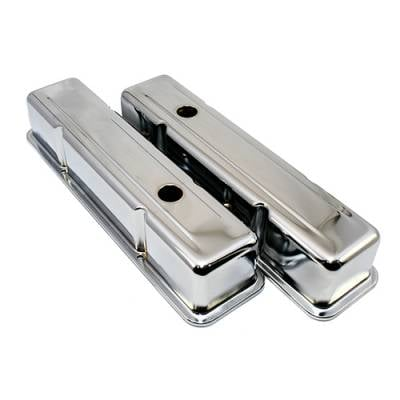 Valve Covers & Accessories - Street Valve Covers  - Assault Racing Products - 58-86 SBC Chevy 350 Chrome Tall Steel Valve Covers - Small Block 283 305 327 400