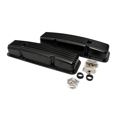 Valve Covers & Accessories - Street Valve Covers  - Assault Racing Products - 58-86 SBC Chevy 350 Finned Black Powder Coated Aluminum Short Style Valve Covers