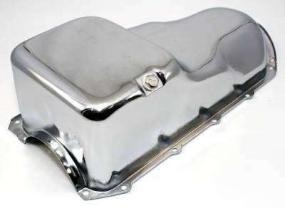 Oil Pans - Street Oil Pans - Assault Racing Products - 59-81 Pontiac 350 455 Chrome Oil Pan - Stock Capacity 301 326 389 400 421 428 V8