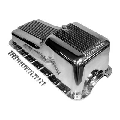 Oil Pans - Street Oil Pans - Assault Racing Products - 62-82 SBF Ford Polished Aluminum Oil Pan Retro Finned Front Sump - 260 289 302