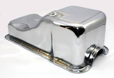 Oil Pans - Street Oil Pans - Assault Racing Products - 63-96 SBF Ford 302 Front Sump Chrome Steel Oil Pan - Small Block 260 289 5.0