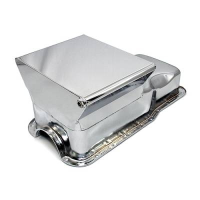 Oil Pans - Drag Racing Oil Pans - Assault Racing Products - 65-87 SBF Ford 7qt Front Sump Chrome Drag Race Oil Pan - Small Block 260 289 302