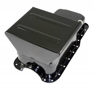 65-87 SBF Ford 7qt Front Sump Black Drag Race Oil Pan - Small Block 260 289 302