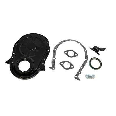 Valvetrain & Camshaft Components - Timing Covers, Timing Pointers & Accessories - Assault Racing Products - 66-90 Big Block Chevy 454 Black Timing Chain Cover Kit - 396 402 427 BBC