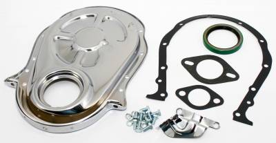 Valvetrain & Camshaft Components - Timing Covers, Timing Pointers & Accessories - Assault Racing Products - 66-90 Big Block Chevy 454 Chrome Timing Chain Cover Kit - 396 402 427 BBC
