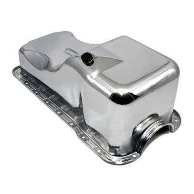 Oil Pans - Street Oil Pans - Assault Racing Products - 69-81 SBF Ford 351W Front Sump Steel Chrome Oil Pan Stock Capacity Mustang V8