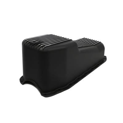 Oil Pans - Street Oil Pans - Assault Racing Products - 80-85 SBC Chevy Finned Black Aluminum Oil Pan Polished Fins 305 350 Small Block