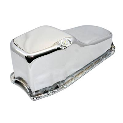 Oil Pans - Street Oil Pans - Assault Racing Products - 80-85 Small Block Chevy SBC 283-305-327-350 Stock Capacity Oil Pan Chrome Finish