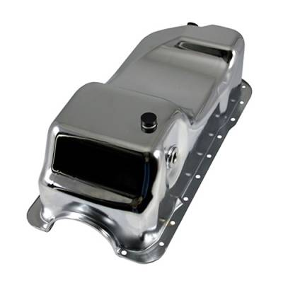 Oil Pans - Street Oil Pans - Assault Racing Products - 83-93 Ford 5.0 Mustang Chrome Dual Sump Oil Pan - Stock Capacity 302 SBF
