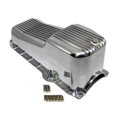 Oil Pans - Street Oil Pans - Assault Racing Products - 86-02 SBC Chevy Finned Aluminum Oil Pan - 305 5.0L 350 5.7L Vortec 1pc Rear Seal