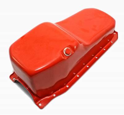 Oil Pans - Street Oil Pans - Assault Racing Products - 86-02 SBC Chevy Orange Oil Pan Stock Capacity 305 350 5.7 Vortec 1 pc Rear Main