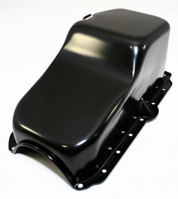 Oil Pans - Street Oil Pans - Assault Racing Products - 86-95 Chevy S10 Truck Blazer 4.3L V6 Stock Black Steel Oil Pan 1-Piece Rear Main