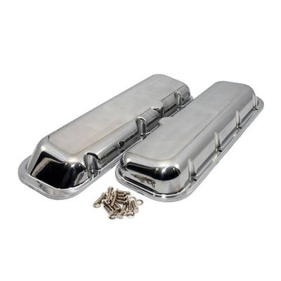 Valve Covers & Accessories - Street Valve Covers  - Assault Racing Products - BBC Big Block Chevy 454 Polished Aluminum Short Valve Covers No Breather Hole