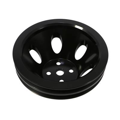Cooling - Pulleys, Belts & Kits - Assault Racing Products - BBC Chevy 2 Groove Black Aluminum Water Pump Pulley Short 396 454