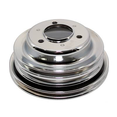 Cooling - Pulleys, Belts & Kits - Assault Racing Products - BBC Chevy 3 Groove Chrome Crankshaft Pulley For Long Water Pump - 396 427 454