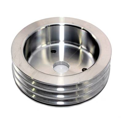 Cooling - Pulleys, Belts & Kits - Assault Racing Products - BBC Chevy 3 Groove Polished Aluminum Crank Pulley for Short Water Pump 396 454