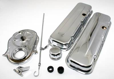 Engine Components & Valvetrain - Dress-Up Kits - Assault Racing Products - BBC Chevy 454 Chrome Dress Up Kit - Short Valve Covers 396 402 427 Big Block
