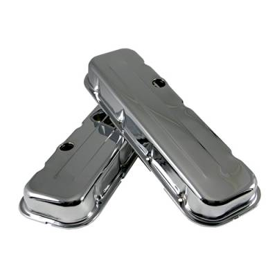 Valve Covers & Accessories - Street Valve Covers  - Assault Racing Products - BBC Chevy 454 Short Chrome Steel Valve Covers - 396 402 427 502 Big Block