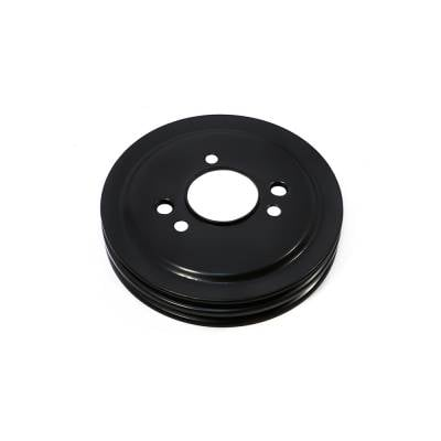 Cooling - Pulleys, Belts & Kits - Assault Racing Products - BBC Chevy Black Crank Pulley Double 2 Groove For Short Water Pump 396 427 454