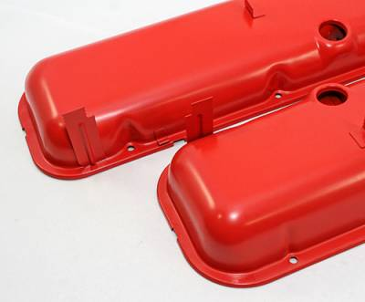 Valve Covers & Accessories - Street Valve Covers  - Assault Racing Products - Big Block Chevy 396 454 Short OEM Orange Painted Baffled Steel Valve Covers BBC